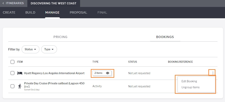 Making Bookings and Emailing Suppliers on Minim Plus